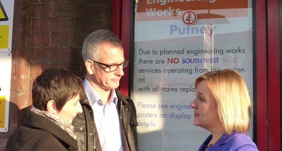 Brian and Caroline at Putney station